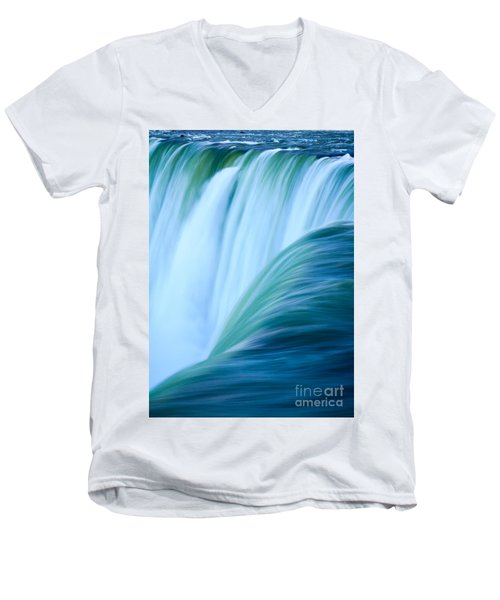 Men's V-Neck T-Shirt featuring the photograph Turquoise Blue Waterfall by Peta Thames