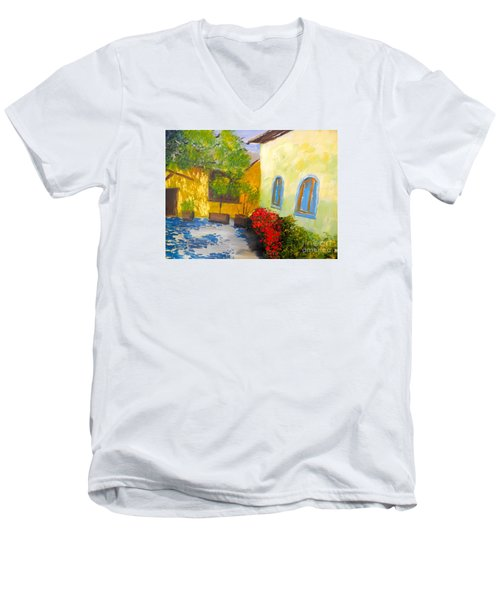 Tuscany Courtyard 2 Men's V-Neck T-Shirt by Pamela  Meredith