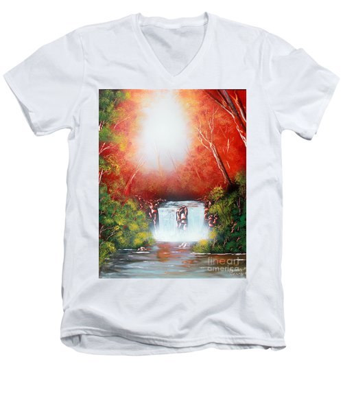 Twin Falls  Men's V-Neck T-Shirt by Greg Moores