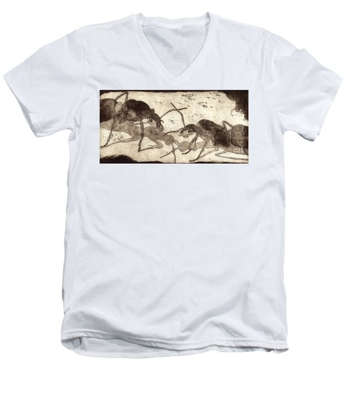 Two Ants In Communication - Etching Men's V-Neck T-Shirt