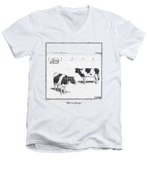Two Spotted Cows Looking At A Jersey Cow Men's V-Neck T-Shirt