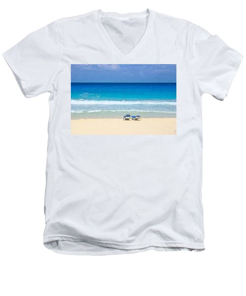 Two Chairs On Cancun Beach Men's V-Neck T-Shirt