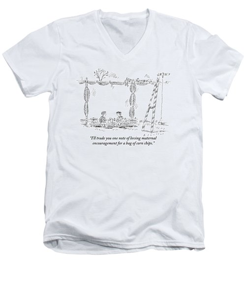Two Children Are Seen Eating Lunch And Talking Men's V-Neck T-Shirt