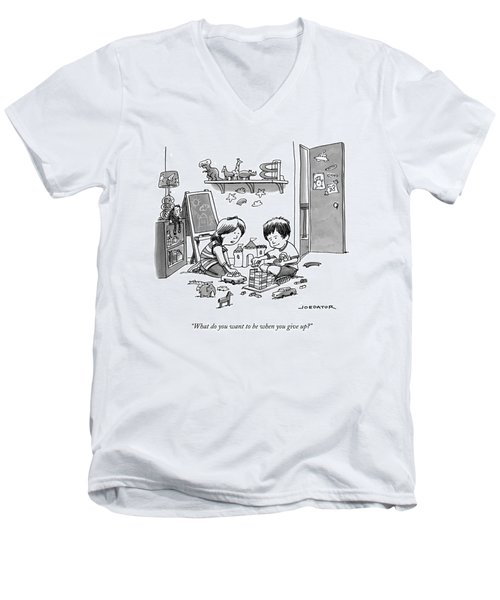 Two Children Converse While Playing With Blocks Men's V-Neck T-Shirt