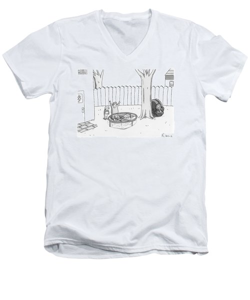 Two Children Excitedly Look At A Web Disguised Men's V-Neck T-Shirt
