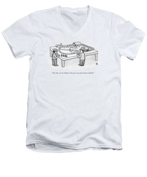 Two Children Play With A Toy Train Set Men's V-Neck T-Shirt