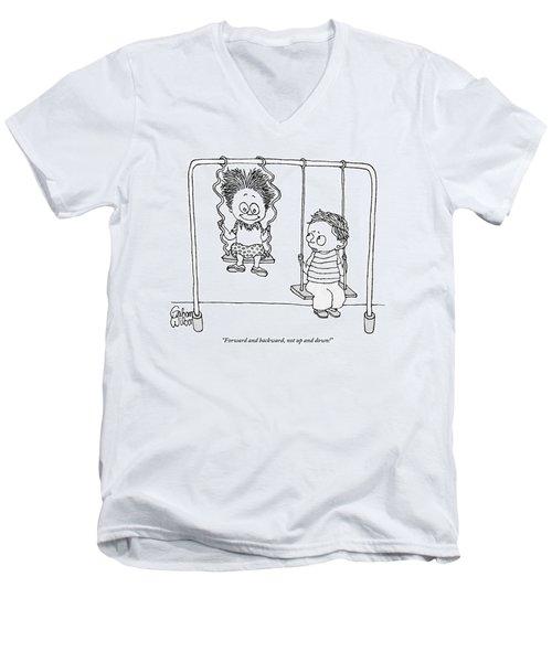 Two Children Sit On Swings Men's V-Neck T-Shirt