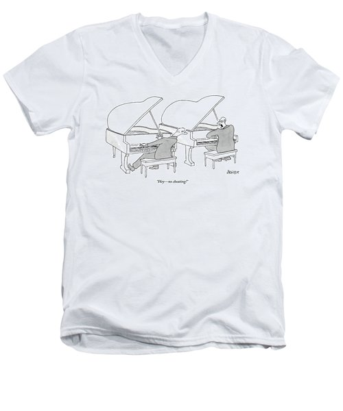 Two Concert Pianists Play Side-by-side Men's V-Neck T-Shirt