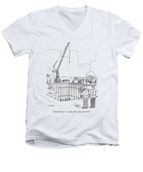 Two Construction Workers Look Out Over A Massive Men's V-Neck T-Shirt