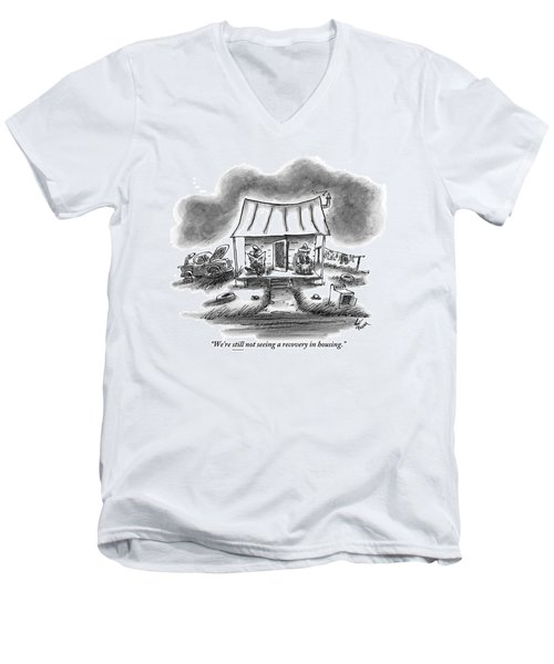 Two Country Folk Are Seen Sitting On Their Porch Men's V-Neck T-Shirt