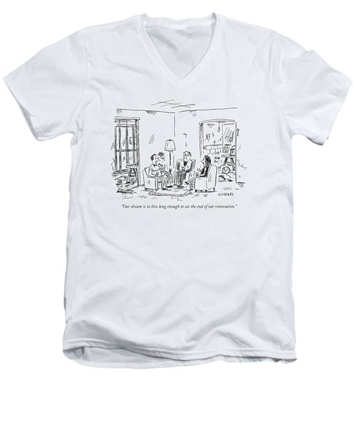 Two Couples Sitting In The Middle Of A House Men's V-Neck T-Shirt