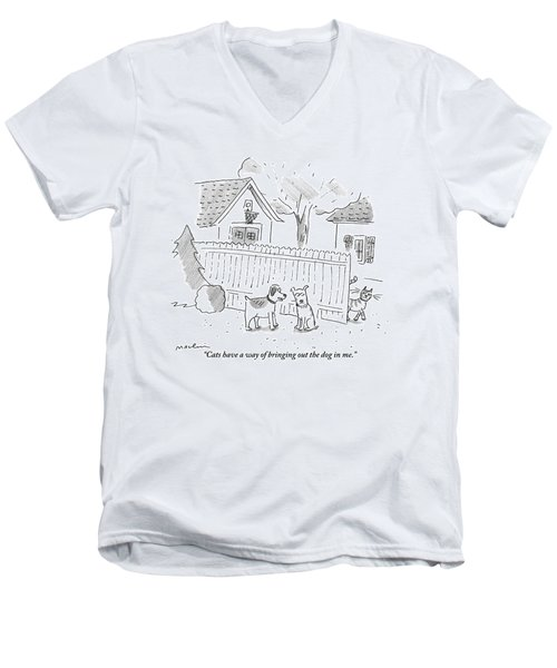 Two Dogs Are Speaking With A Cat Walking Near By Men's V-Neck T-Shirt