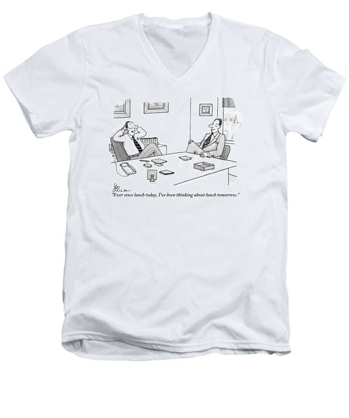 Two Executives In Suits Sit At A Business Table Men's V-Neck T-Shirt