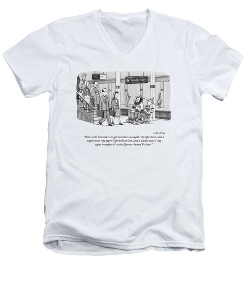 Two Farmers Sit In Rocking Chairs At The 42nd Men's V-Neck T-Shirt