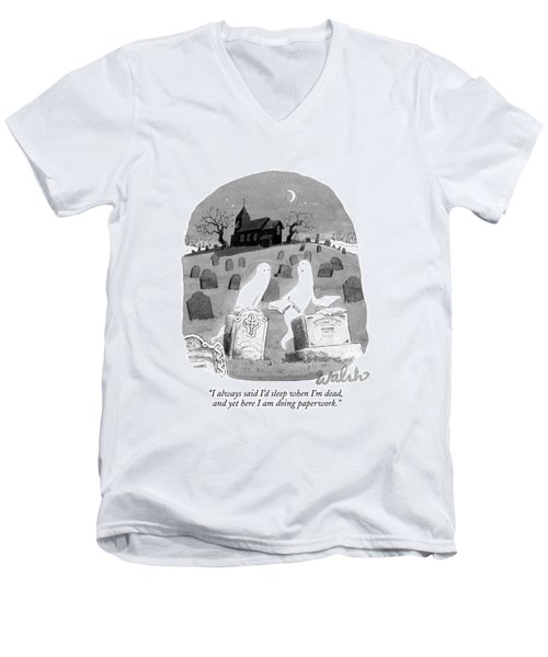 Two Ghosts Talk In A Graveyard.  One Is Holding Men's V-Neck T-Shirt