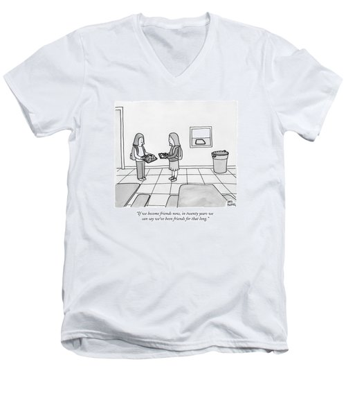 Two Girls Talk In A School Cafeteria Men's V-Neck T-Shirt