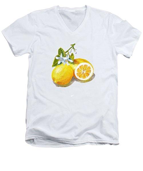 Two Happy Lemons Men's V-Neck T-Shirt by Irina Sztukowski