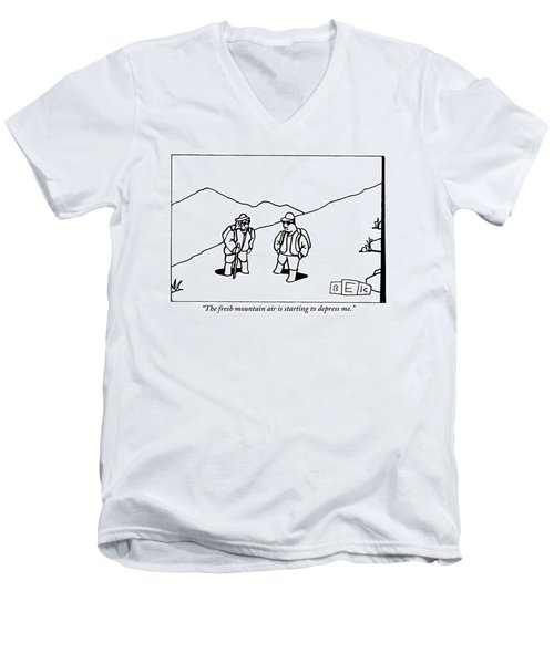 Two Hikers Are Talking To Each Other Outdoors Men's V-Neck T-Shirt