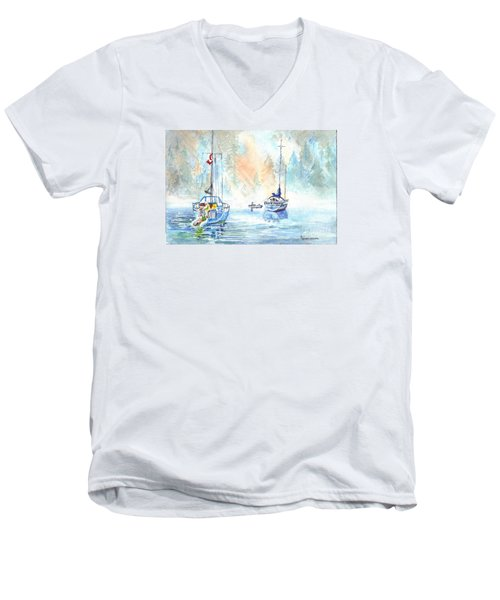 Men's V-Neck T-Shirt featuring the painting Two In The Early Morning Mist by Carol Wisniewski
