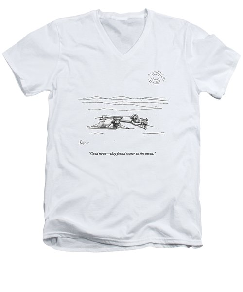 Two Men Are On Their Stomachs In A Desert.  One Men's V-Neck T-Shirt