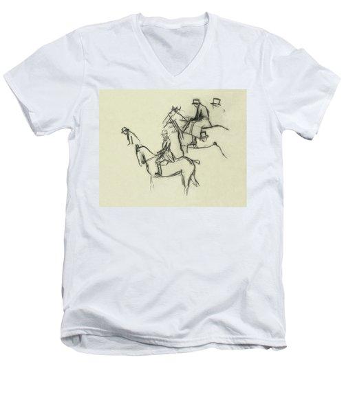 Two Men Horse Riding Men's V-Neck T-Shirt