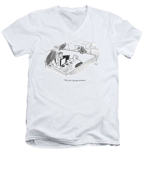 Two Men In A Small Cubicle Speak To Each Other Men's V-Neck T-Shirt