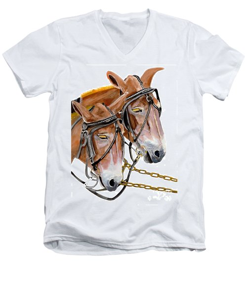 Two Mules - Enhanced Color - Farmer's Friend Men's V-Neck T-Shirt