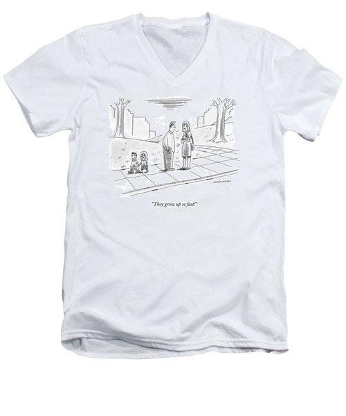 Two Parents Talk About Their Children Men's V-Neck T-Shirt