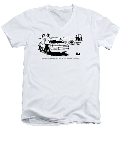 Two People Standing Behind Car Looking At Picnic Men's V-Neck T-Shirt