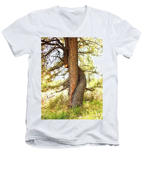 Two Pines Intertwined  Men's V-Neck T-Shirt by Deborah Moen