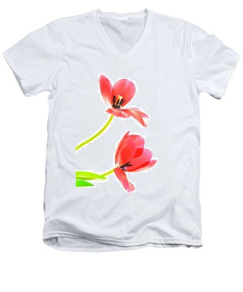 Two Red Transparent Flowers Men's V-Neck T-Shirt