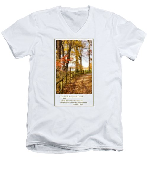 Men's V-Neck T-Shirt featuring the photograph Two Roads Diverged by Jean Goodwin Brooks