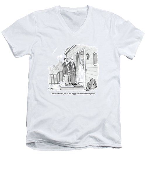 Two Suited Men Stand On The Doorstep Of A House Men's V-Neck T-Shirt