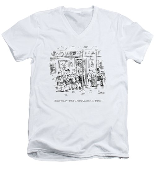 Two Tourists On The Subway Ask A New Yorker Men's V-Neck T-Shirt