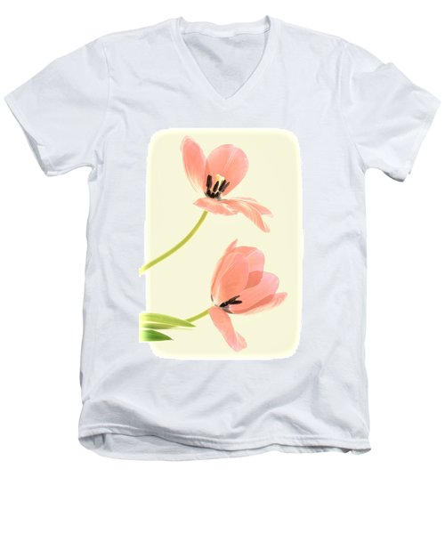 Two Tulips In Pink Transparency Men's V-Neck T-Shirt