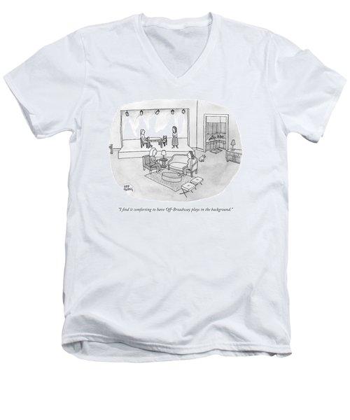 Two Women Chat In A Living Room Men's V-Neck T-Shirt
