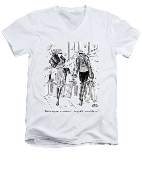 Two Women Dressed Nicely Walk Together Carrying Men's V-Neck T-Shirt