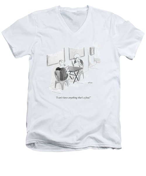 Two Women Speak In A Restaurant Men's V-Neck T-Shirt