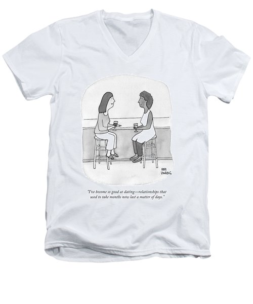 Two Women Talking In A Bar Men's V-Neck T-Shirt