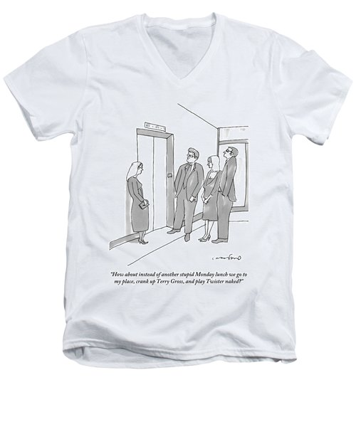 Two Working Men And Two Working Women Wait For An Men's V-Neck T-Shirt