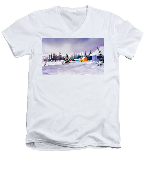 Men's V-Neck T-Shirt featuring the painting Tyonek Village Impression by Teresa Ascone