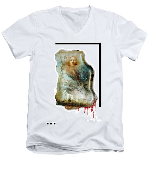 Men's V-Neck T-Shirt featuring the mixed media Ubuntu by Paul Davenport