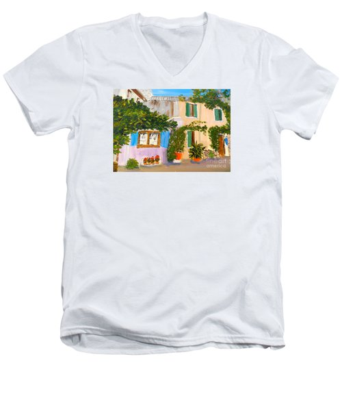 Men's V-Neck T-Shirt featuring the painting Umbera Courtyard by Pamela  Meredith