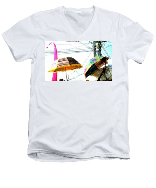 Umbrellas And Wires Men's V-Neck T-Shirt by Marianne Dow