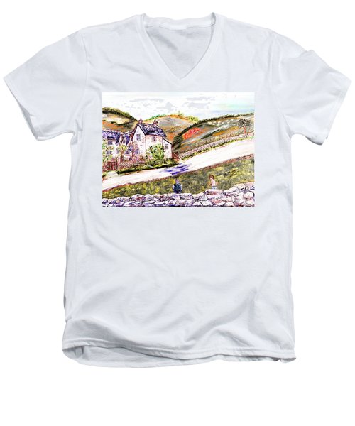 Men's V-Neck T-Shirt featuring the painting An Afternoon In June by Loredana Messina