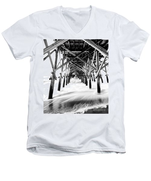 Men's V-Neck T-Shirt featuring the photograph Under The Pier Folly Beach by Donnie Whitaker