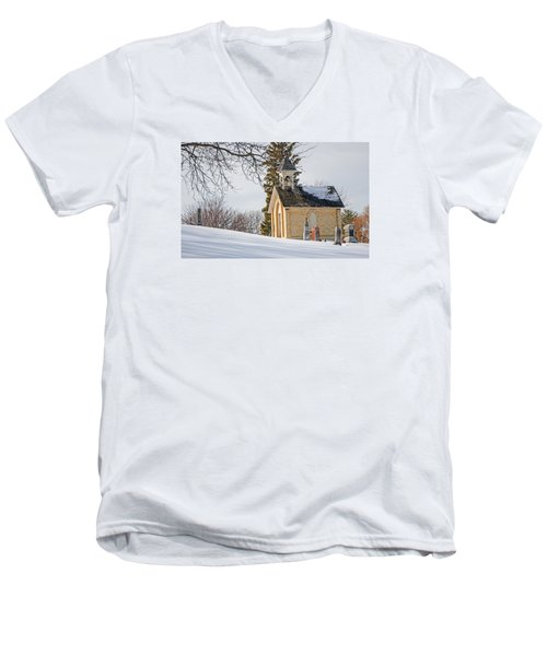 Union Cemetery Chapel Men's V-Neck T-Shirt by Susan  McMenamin