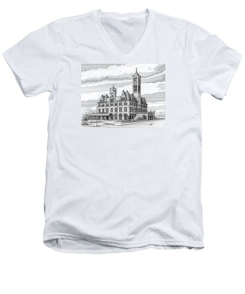 Men's V-Neck T-Shirt featuring the drawing Union Station In Nashville Tn by Janet King