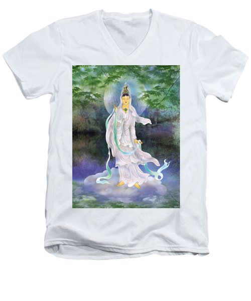 Universal Kuan Yin Men's V-Neck T-Shirt by Lanjee Chee