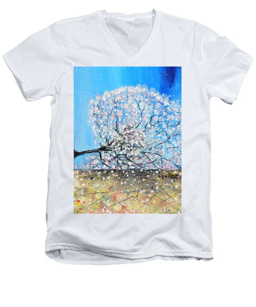 Men's V-Neck T-Shirt featuring the painting Unstable Position by Evelina Popilian
